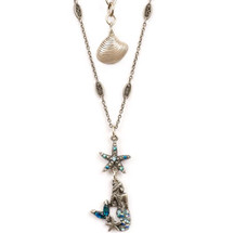 Mermaid and Starfish Pendant Necklace | Nature Jewelry | NK9502BL