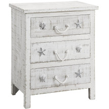 Shell and Starfish Seaside Sand 3 Drawer Chest | Crestview Collection |  CVFZR1008