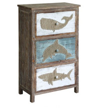 Whale, Dolphin, and Shark 3 Drawer Yarn Chest   Crestview Collection   CVFZR2274