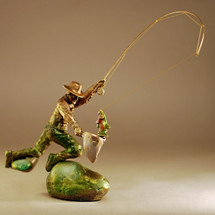 """Trout and Fisherman Bronze Sculpture """"Rainbow at Mossy Rock"""" 21056 