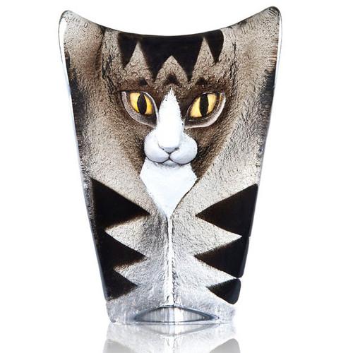 Cat Grey and Black Crystal Sculpture | 34220 | Mats Jonasson Maleras