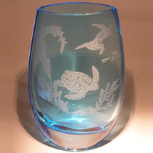 Sea Turtle Etched Crystal Kyoto Vase | Evergreen Crystal | SS-44010B