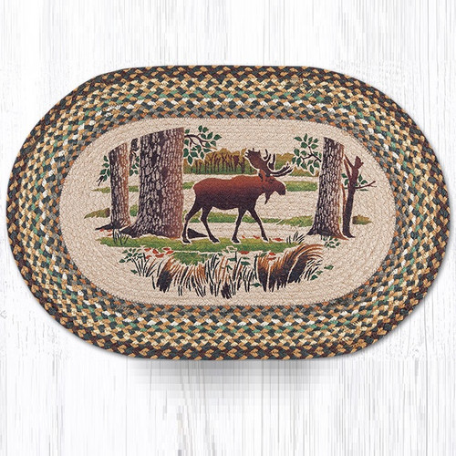 Moose Forest Oval Braided Rug