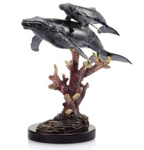 Humpback Whale Pair Brass and Marble Sculpture | 30988