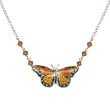 Monarch Butterfly Cloisonne Small Necklace | Bamboo Jewelry | 0003sn