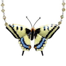 Swallowtail Butterfly Large Cloisonne Necklace | Bamboo Jewelry