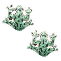Green Frog Cloisonne Post Earrings | Bamboo Jewelry | bj0009pe