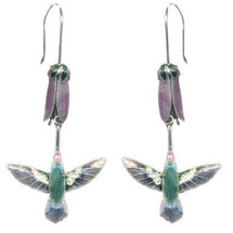 Hummingbird & Pink Flower Cloisonne Wire Earrings | Bamboo Jewelry | BJ0014e