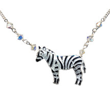 Zebra Cloisonne Necklace | Bamboo Jewelry | bj0037sn -2