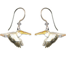 White Pelican Cloisonne Wire Earrings | Bamboo Jewelry | bj0064e