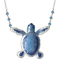 Blue Flatback Hatchling Turtle Cloisonne Large Necklace | Bamboo Jewelry | BJ0074ln