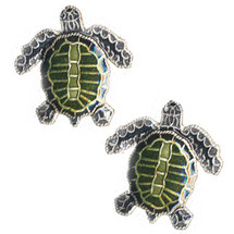Olive Ridley Sea Turtle Cloisonne Post Earrings | Bamboo Jewelry | BJ0075pe -2