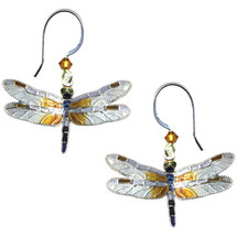 Great Blue Skimmer Dragonfly Cloisonne Wire Earrings