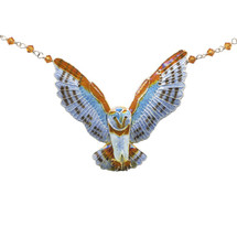 Barn Owl Large Cloisonne Necklace | Bamboo Jewelry | bj0095ln