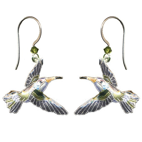 Violet Crowned Hummingbird Cloisonne Wire Earrings | Bamboo Jewelry | bj0102e