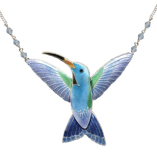 Broad Billed Hummingbird Cloisonne Necklace | Bamboo Jewelry | bj0103n