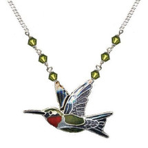 Ruby Throated Hummingbird Cloisonne Pendant Necklace