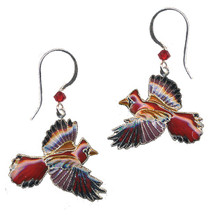 Cardinal Cloisonne Wire Earrings | Bamboo Jewelry