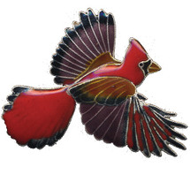 Cardinal Cloisonne Pin | Bamboo Jewelry