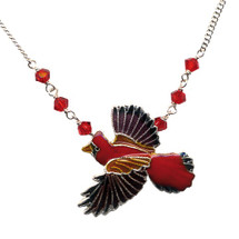Cardinal Cloisonne Small Necklace | Bamboo Jewelry | bj0113sn