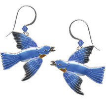 Bluebird Cloisonne Wire Earrings | Bamboo Jewelry | bj0119e
