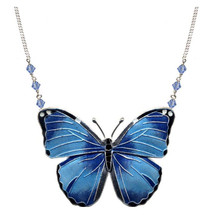 Blue Morpho Butterfly Cloisonne Large Necklace | Bamboo Jewelry | bj0168ln -2