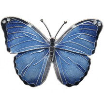 Blue Morpho Butterfly Cloisonne Pin | Bamboo Jewelry | bj0168p