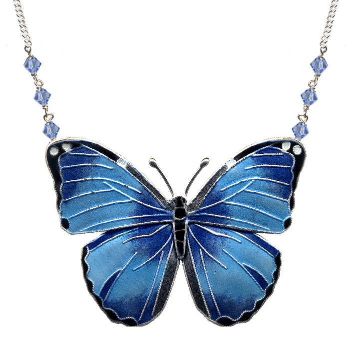 Blue Morpho Butterfly Necklace Cloisonne Jewelry Bamboo