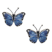 Blue Morpho Butterfly Cloisonne Post Earrings | Bamboo Jewelry | bj0168sppe