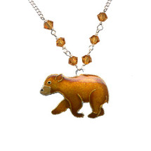 Bear Cub Cloisonne Small Necklace | Bamboo Jewelry | bj0180sn
