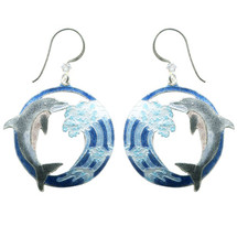 Hokusai Dolphin Wave Wire Earrings | Bamboo Jewelry | BJ0243E