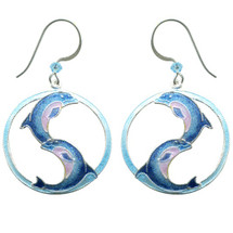 Ying Yang Dolphin Wire Earrings | Bamboo Jewelry