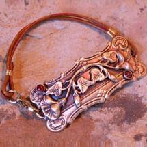 Pansy Solid Brass Rawhide Rockband Bracelet | Elaine Coyne Jewelry