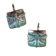 Dragonfly Verdigris Brass Earrings | Elaine Coyne Jewelry | ECGNAP75E