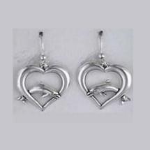 Dolphin on Heart Sterling Silver Wire Earrings | Kabana Jewelry | Ke423