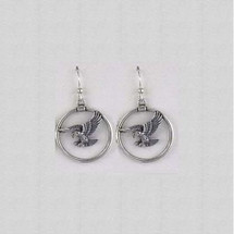 Eagle Circle Sterling Silver Wire Earrings | Kabana Jewelry
