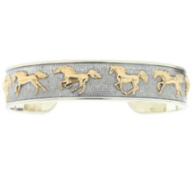 Running Horse 14K Gold Sterling Silver Cuff Bracelet   Kabana Jewelry   Kgsbr110