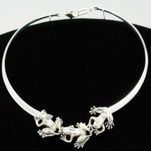 Three Frogs Sterling Silver Collar Necklace | Kabana Jewelry | knk268