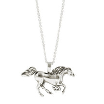 Racing Horse Sterling Silver Pendant Necklace   Kabana Jewelry   Kp891