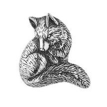 Fox Sterling Silver Brooch Pin | Kabana Jewelry | Kpn364