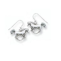 Galloping Horse Sterling Silver Wire Earrings   Kabana Jewelry   kse109