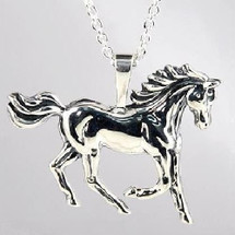 Prancing Horse Sterling Silver Pendant Necklace   Kabana Jewelry   Ksp061