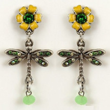 Flower and Dragonfly Earrings | La Contessa Jewelry | LCer9164