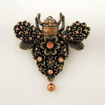 Flower and Bee Brooch Pin | La Contessa Jewelry | LCPN9110