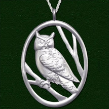 Owl Pewter Pendant Necklace Large | Lovell Designs Jewelry | LOVP218PE