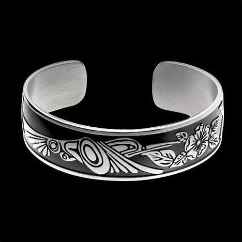 Hummingbird Sterling Silver Tribal Cuff Bracelet |  Metal Arts Group Jewelry | MAG10493-S