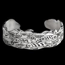 Salmon Run Tribal Sterling Cuff Bracelet    Metal Arts Group Jewelry   MAG11458