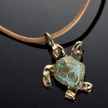 Baby Loggerhead Sea Turtle Bronze Small Necklace