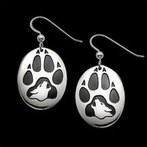 Wolf Print Sterling Silver Earrings |  Metal Arts Group Jewelry | MAG20201