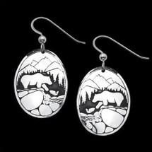 Fishing Bears Sterling Silver Earrings    Metal Arts Group Jewelry   MAG20202